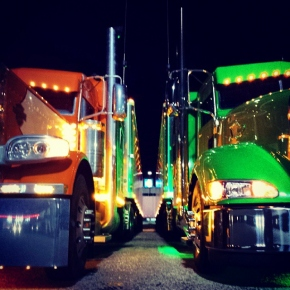 Lit up big rigs