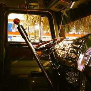 Inside a big rig cab
