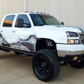 White Duramax with a Sick Wrap