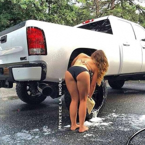 girl washing her truck