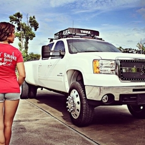Girl and white Dually Duramax