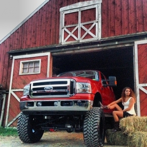 Farm Girl and Power Stroke Diesel Truck
