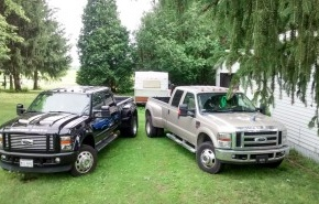F450 HD edition on left and F350 Lariat on right
