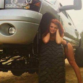 Girl On A Lifted Cummins diesel performance truck
